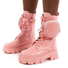 Frauen Kunstleder Niederiger Absatz Stiefel-Wadenlang Round Toe mit Zuschnüren Schuhe
