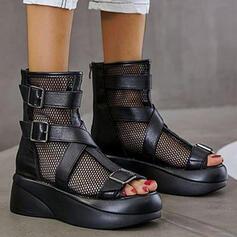 Frauen PU Keil Absatz Sandalen Stiefel Peep Toe Stiefel-Wadenlang mit Hohl-out Einfarbig Schuhe