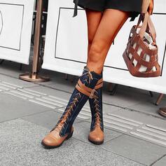Frauen PU Stämmiger Absatz Kniehocher Stiefel Round Toe mit Reißverschluss Zuschnüren Spleißfarbe Schuhe