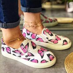 Frauen Leinwand Flascher Absatz Flache Schuhe Round Toe Espadrille Slipper & Slips mit Tierdruckmuster Schuhe