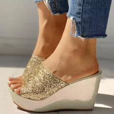 Frauen PU Keil Absatz Sandalen Keile Peep Toe Pantoffel Heels mit Pailletten Funkelnde Glitzer Schuhe