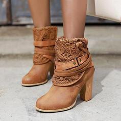 Frauen Kunstleder Stämmiger Absatz Stiefelette Spitze mit Niete Spitze Schuhe