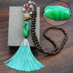 Modisch Exotisch Klassische Art Legierung Holzperlen Frauen Halsketten