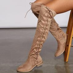 Frauen Veloursleder Niederiger Absatz Stiefel über Knie Reitstiefel Round Toe mit Geraffte Zuschnüren Einfarbig Schuhe