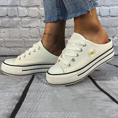 Frauen Leinwand Flascher Absatz Flache Schuhe Low Top Espadrille mit Zuschnüren Schuhe