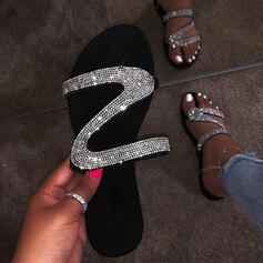 Frauen PU Flascher Absatz Pantoffel mit Pailletten Schuhe