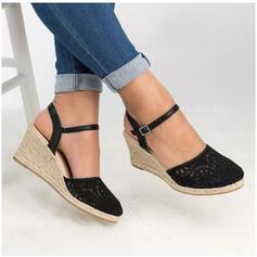 Women's PU Wedge Heel Sandals Wedges Peep Toe Heels With Buckle shoes