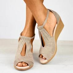 Frauen Veloursleder Keil Absatz Sandalen Peep Toe mit Schnalle Schuhe