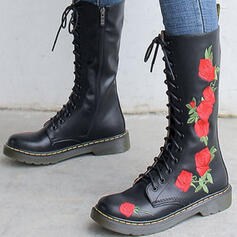 Women's Real Leather Chunky Heel Mid-Calf Boots With Lace-up Floral Print shoes