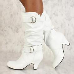 Frauen Kunstleder PU Stöckel Absatz Absatzschuhe Geschlossene Zehe Stiefel Stiefel-Wadenlang mit Schnalle Rüschen Schuhe