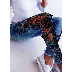Jacquard Spitze Druck Dünn Jacquard Spitze Baumwollstoff Denim Jeans