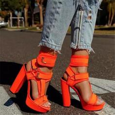 Frauen PU Stämmiger Absatz Absatzschuhe Plateauschuh Peep Toe mit Schnalle Hohl-out Klettverschluss Schuhe