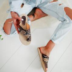 Frauen PU Flascher Absatz Sandalen Flache Schuhe Peep Toe Pantoffel Zehenring mit Tierdruckmuster Hohl-out Schuhe