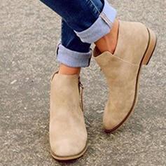 Frauen Veloursleder Flascher Absatz Stiefelette mit Reißverschluss Schuhe