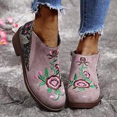 Frauen PU Stämmiger Absatz Stiefelette Round Toe mit Blume Blumen Schuhe