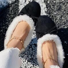Frauen Veloursleder Flascher Absatz Round Toe Slipper Schlüpfen mit Feder Bowknot Kunstpelz Schuhe