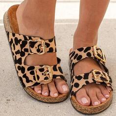 Frauen Veloursleder Flascher Absatz Sandalen Flache Schuhe Plateauschuh Peep Toe Pantoffel mit Schnalle Tierdruckmuster Hohl-out Schuhe
