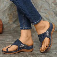 Frauen PU Keil Absatz Sandalen Pantoffel Schuhe