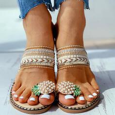 Frauen Leinwand Flascher Absatz Sandalen Peep Toe Pantoffel Schuhe