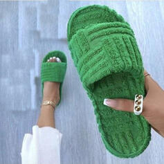 Women's Fake fur Flat Heel Sandals Peep Toe Slippers With Solid Color shoes