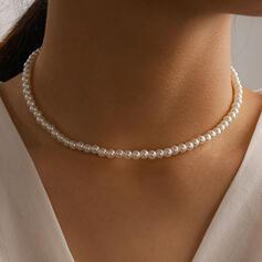 Glänzende Legierung mit Faux-Perlen Frauen Damen Halsketten