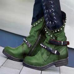 Frauen PU Niederiger Absatz Stiefel mit Niete Schnalle Schuhe