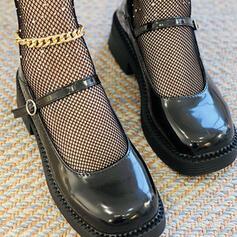 Women's PU Flat Heel Flats Mary Jane With Buckle shoes
