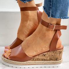 Frauen PU Stämmiger Absatz Sandalen Keile Peep Toe mit Schnalle Hohl-out Schuhe
