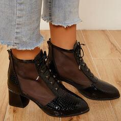 Frauen PU Stämmiger Absatz Stiefelette Spitze mit Stich Spitzen Zuschnüren Schuhe