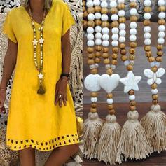 Modisch Holzperlen mit Quasten Frauen Halsketten