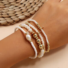 Geschichtet Legierung Faux-Perlen Armbänder (Satz 4)