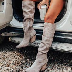 Frauen Veloursleder Stämmiger Absatz Martin Stiefel Spitze mit Geraffte Reißverschluss Schuhe