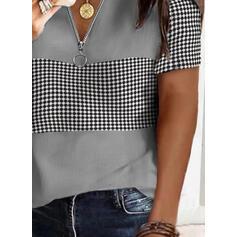 Print PolkaDot V-Neck Short Sleeves Casual Blouses