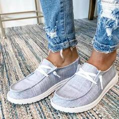 Frauen Leinwand Flascher Absatz Flache Schuhe Schlüpfen mit Zuschnüren Schuhe
