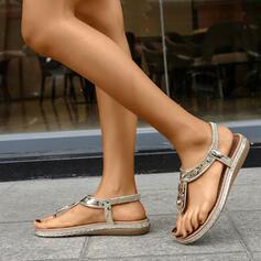 Frauen PU Keil Absatz Sandalen Flip Flops mit Strass Schuhe
