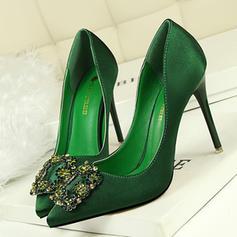 Frauen Satin Stöckel Absatz Absatzschuhe Geschlossene Zehe mit Strass Schuhe