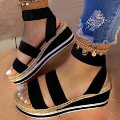 Frauen Kunstleder Keil Absatz Sandalen Plateauschuh Keile Peep Toe Slingpumps mit Zweiteiliger Stoff Schuhe