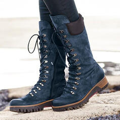 Women's Leatherette Wedge Heel Mid-Calf Boots Martin Boots Round Toe With Lace-up Solid Color shoes