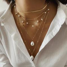 Modisch kühlen Legierung mit Nachahmungen von Perlen Halsketten