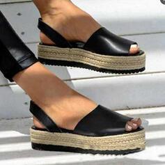 Frauen PU Flascher Absatz Sandalen Flache Schuhe Plateauschuh Peep Toe mit Hohl-out Verband Schuhe