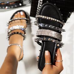 Frauen PU Flascher Absatz Sandalen Pantoffel mit Niete Schuhe