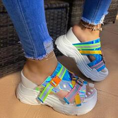 Frauen PU Flascher Absatz Sandalen Flache Schuhe Keile Peep Toe Pantoffel Heels mit Schnalle Spleißfarbe Schuhe