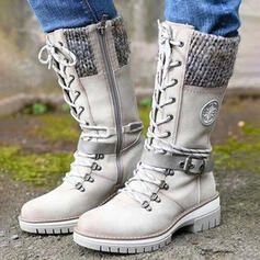 Women's PU Chunky Heel Martin Boots With Buckle Zipper Lace-up shoes