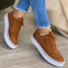 Women's Suede Flat Heel Platform Flats Low Top Sneakers With Lace-up Solid Color shoes