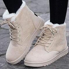 Frauen Veloursleder Flascher Absatz Stiefelette Round Toe Winterstiefel Schneestiefel mit Schnalle Zuschnüren Schuhe