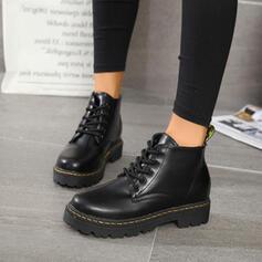 Frauen PU Niederiger Absatz Geschlossene Zehe Stiefel Stiefelette Martin Stiefel Round Toe mit Zuschnüren Schuhe