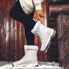 Frauen Stoff Flascher Absatz Schneestiefel Round Toe Winterstiefel mit Zuschnüren Spleißfarbe Schuhe