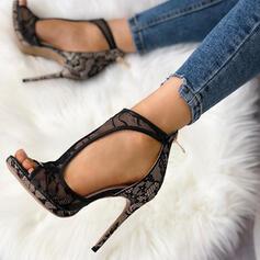 Frauen Mesh Stöckel Absatz Absatzschuhe mit Reißverschluss Hohl-out Schuhe