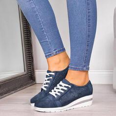 Frauen PU Keil Absatz Geschlossene Zehe Keile mit Zuschnüren Schuhe