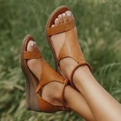 Frauen Kunstleder Keil Absatz Sandalen Keile Peep Toe mit Schnalle Schuhe